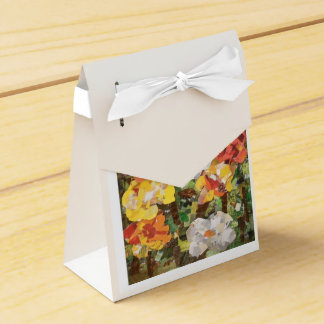Paper Flowers Collage in yellow & orange Wedding Favor Boxes
