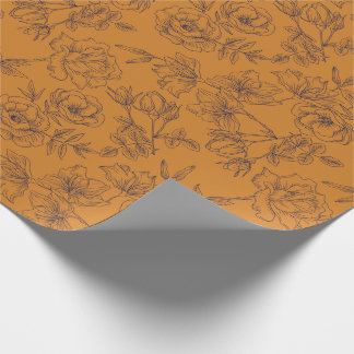 Paper for present flowery orange