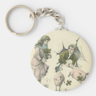 paper girl and boy with pigs basic round button keychain