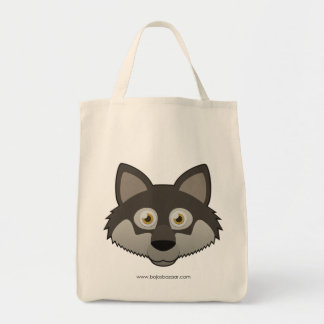 Paper Gray Wolf Grocery Tote Bag