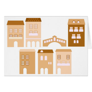 Paper greeting card with Brown Italy homes