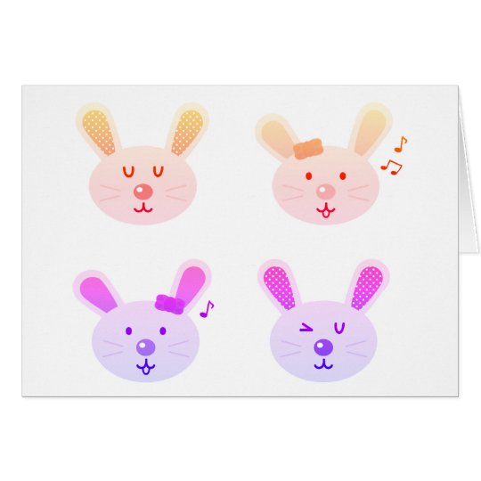 Paper greeting with funny bunnies card
