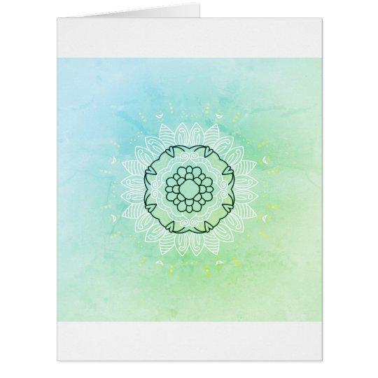 Paper greeting with Mandala art   /   green Card