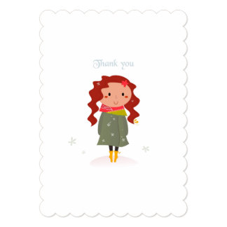 Paper greeting with Winter handdrawn Girl Card
