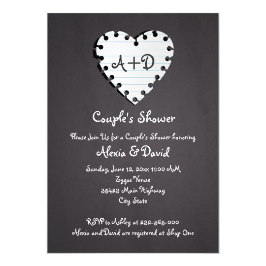 Paper heart on chalkboard wedding couples shower card