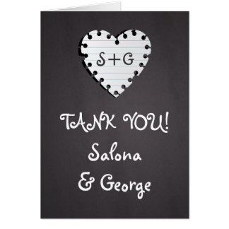 Paper heart on chalkboard wedding Thank You photo Card