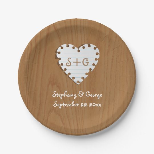 Paper heart on wood with monogram wedding 7 inch paper plate