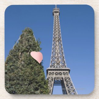 paper heart tied to a tree with the Eiffel tower Coasters