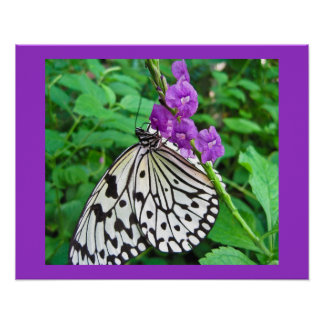 Paper Kite on Purple Flower Poster