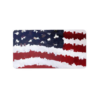 Paper Mache American Flag Personalized Address Labels