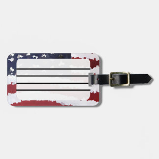 Paper Mache American Flag Luggage Tag