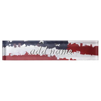 Paper Mache American Flag Nameplates