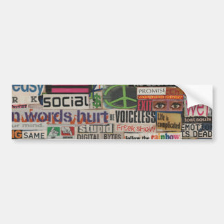 Paper mache word collage from early 90's magazines bumper sticker
