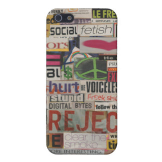 Paper mache word collage from early 90's magazines iPhone 5 covers