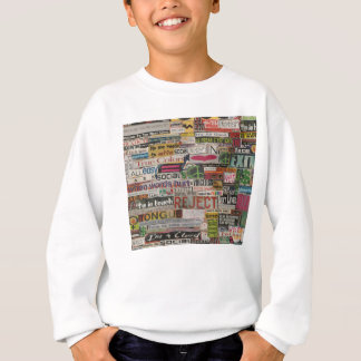 Paper mache word collage from early 90's magazines sweatshirt