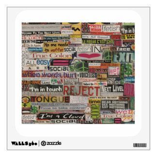 Paper mache word collage from early 90's magazines wall decal