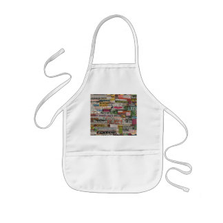 paper mache word collage from paper magazine kids apron
