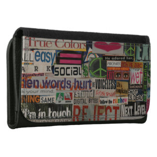 paper mache word collage from paper magazine wallet for women