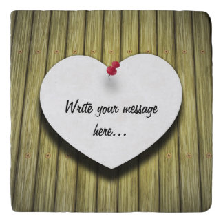 Paper Message Note Heart - Marble Stone Trivet