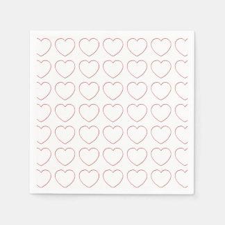 Paper Napkin - Wire Hearts in Rows