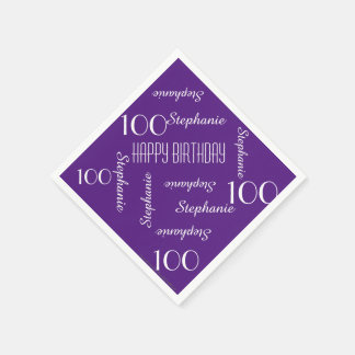 Paper Napkins 100th Birthday Purple Repeating Name