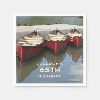 Paper Napkins 65th Birthday Party, Red Canoes