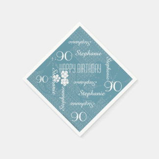 Paper Napkins, 90th Birthday Party, Blue Floral Paper Napkin