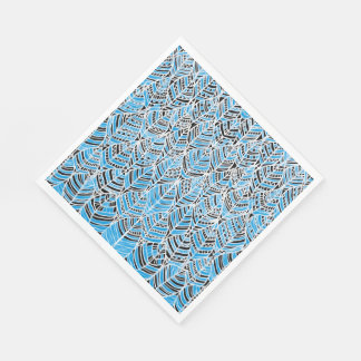 Paper Napkins  Blue Feathers Abstract