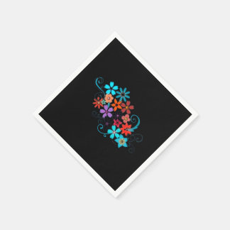 Paper Napkins Colorful Flowers on black background