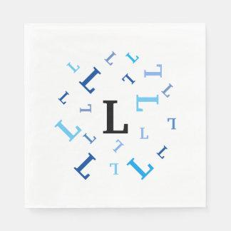 Paper Napkins (lg) - Jumbled Blue Letters