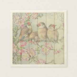 paper napkins  pastel song birds