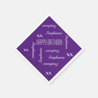Paper Napkins Purple Adult Birthday Repeating Name