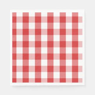 Paper Napkins-Red Checker Board Disposable Napkins