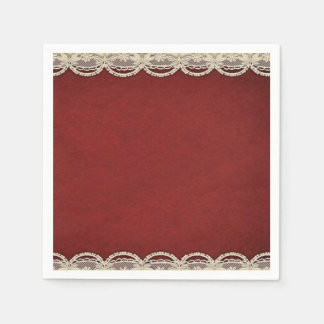 paper napkins Red Merlot ivory scroll