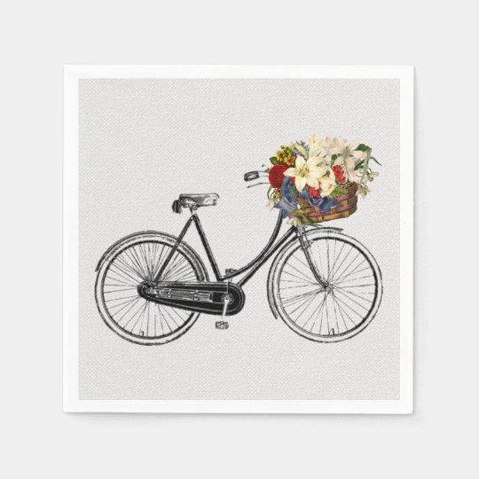 paper napkins white bike bicycle flower