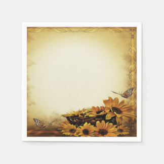 paper napkins yellow butterfly sunflower