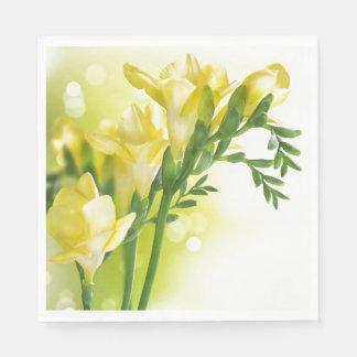 Paper Napkins-Yellow Freesias Disposable Napkins