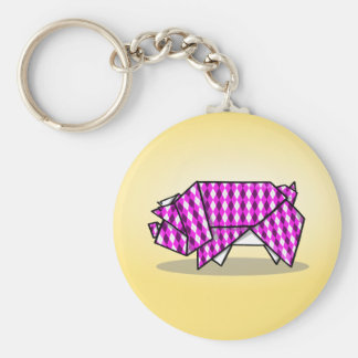 Paper Origami Pig with Argyle Pattern Paper Basic Round Button Keychain