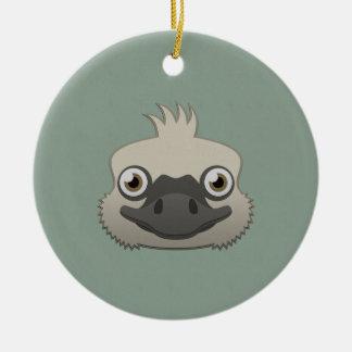 Paper Ostrich Round Ceramic Ornament