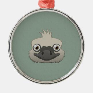Paper Ostrich Silver-Colored Round Ornament