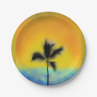 PAPER PARTY PLATE VACATION SUNSET PALM TREE