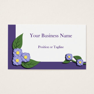 Paper-Pieced Violet Floral Business Card