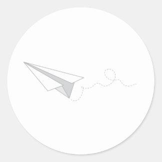 Paper Plane Classic Round Sticker