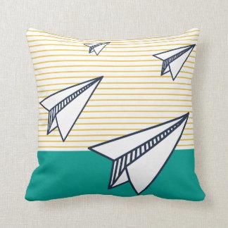Paper Plane Print Throw Pillow