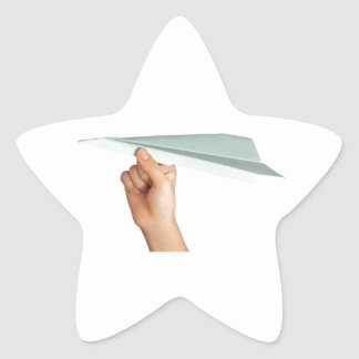 Paper plane star sticker