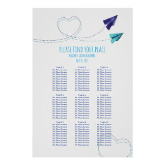 Paper plane watercolor dinner seating chart