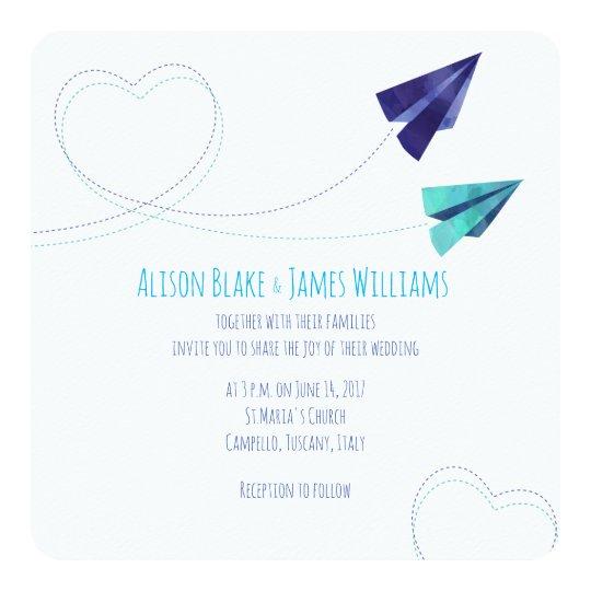 Paper plane watercolor wedding invitation