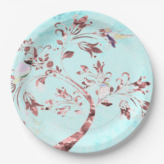 Paper plate abstract aqua pink birds 9 inch paper plate