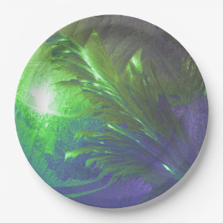 Paper plate abstract green purple 9 inch paper plate