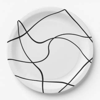 "Paper plate  ""Abstract lines"" - Black and white"